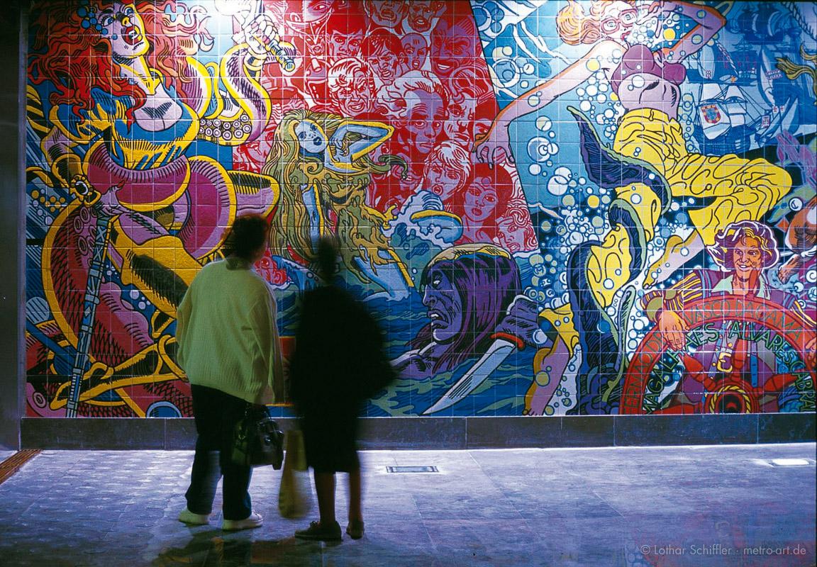 Metro-Station ORIENTE, Lissabon. Mythen und Legenden vom Meer - Künstler: Erró