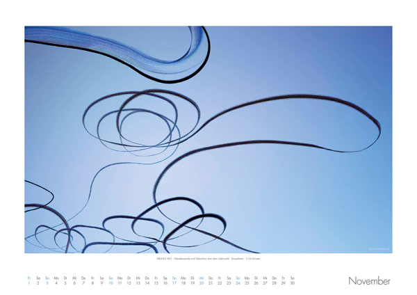 AIRLINES - Vogelspuren in der Luft - Iskiographien von Lothar Schiffler - Kalender 2019 DIN A2 quer - November