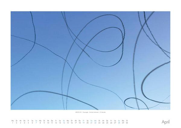 AIRLINES - Vogelspuren in der Luft - Iskiographien von Lothar Schiffler - Kalender 2019 DIN A2 quer - April
