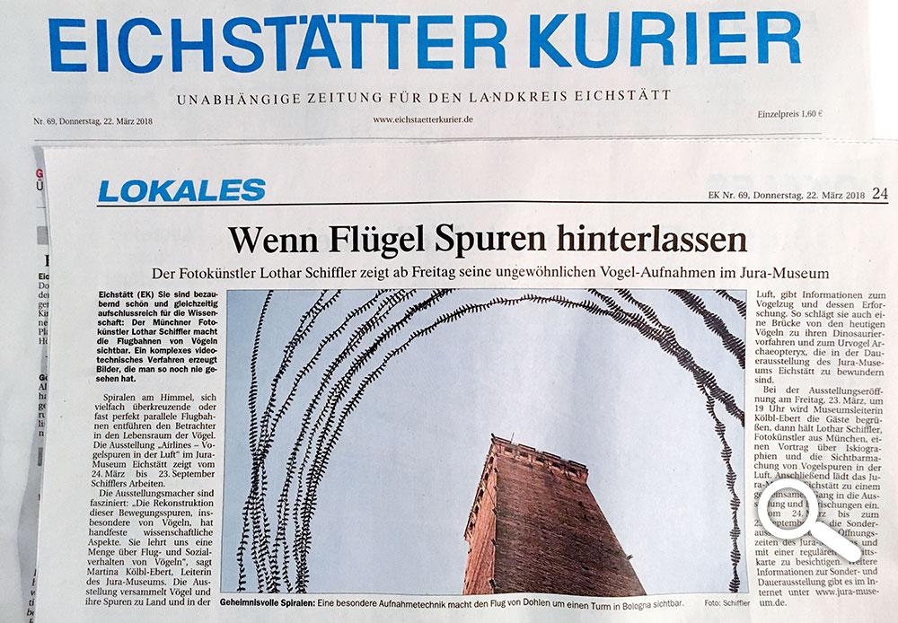 "Eichstätter Kurier, ""Wenn Flügel Spuren hinterlassen"" Hinweis auf Ausstellungseröffnung, Jura Museum Eichstätt"