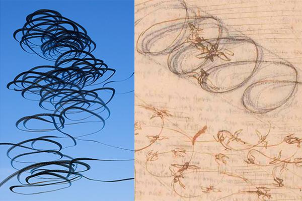 Lothar Schiffler: AIRLINES XVII-2 · Schwarzmilane, Leonardo da Vinci: Naturwissenschaftliche Studien des Vogelflugs (Photo: Veneranda Biblioteca Ambrosiana)