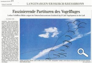 """Schwäbische Zeitung, """"Faszinierende Partituren des Vogelfluges"""", 26.04.2019, Ausstellung im Naturschutzzentrum Eriskirch"""